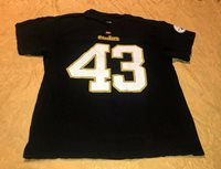 MENS SIZE LARGE Football T-Shirt NFL PITTSBURGH STEELERS #43 POLAMALU