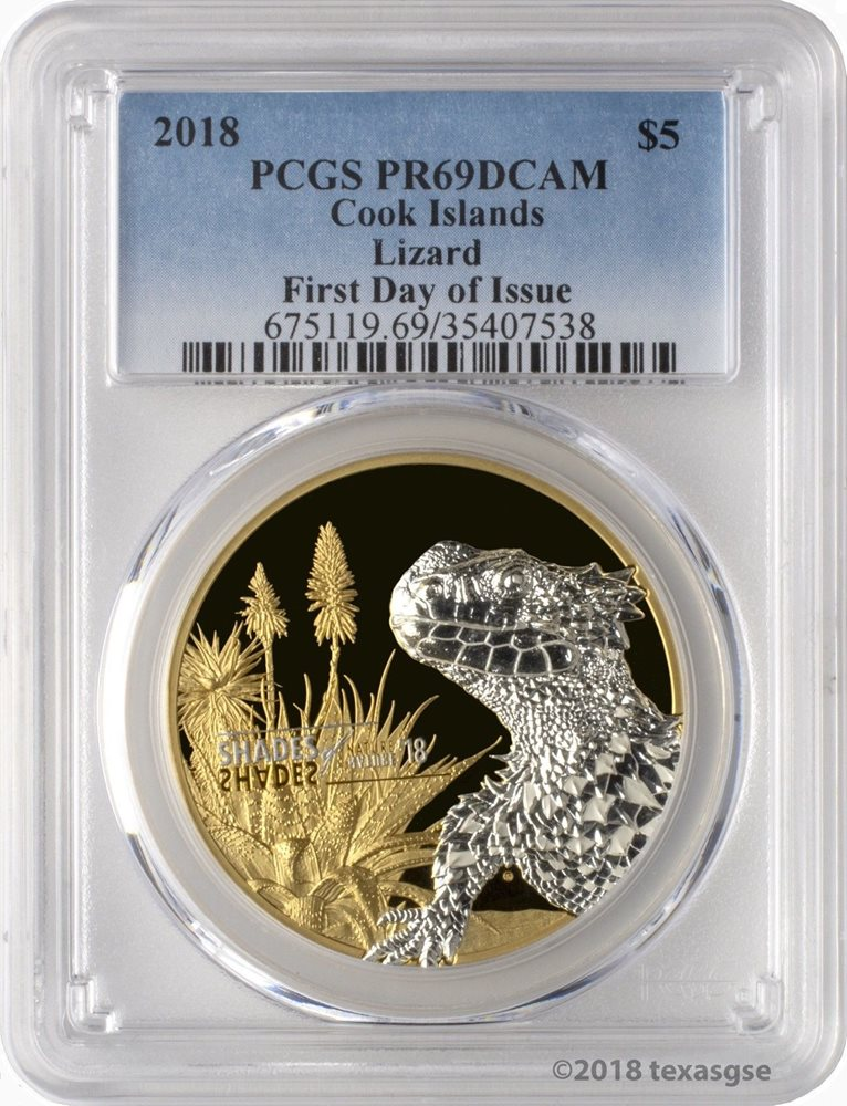 2018 $5 Cook Islands Tree Frog 1oz .999 Silver Proof Coin PCGS PR70DCAM FD