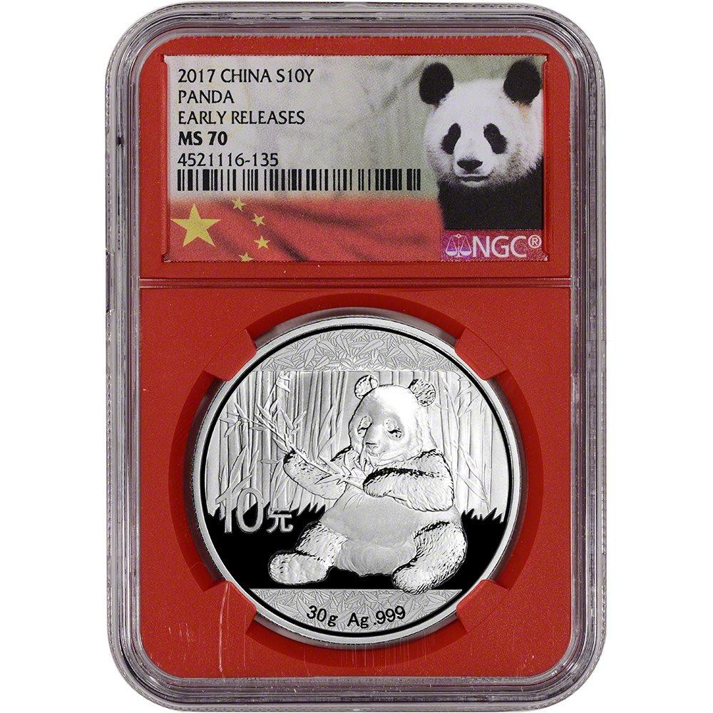 NGC MS70 Early Releases Panda Label Black 2019 China Silver Panda 30 g 10 Yuan