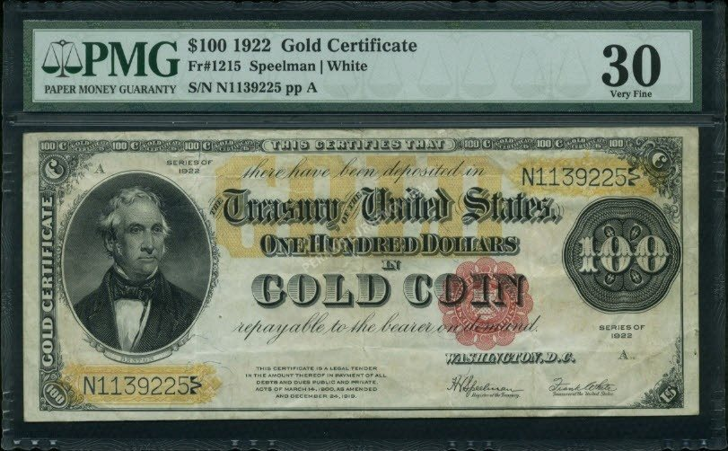 Fr No1215 100 Gold Certificates 1922 Pmg 30