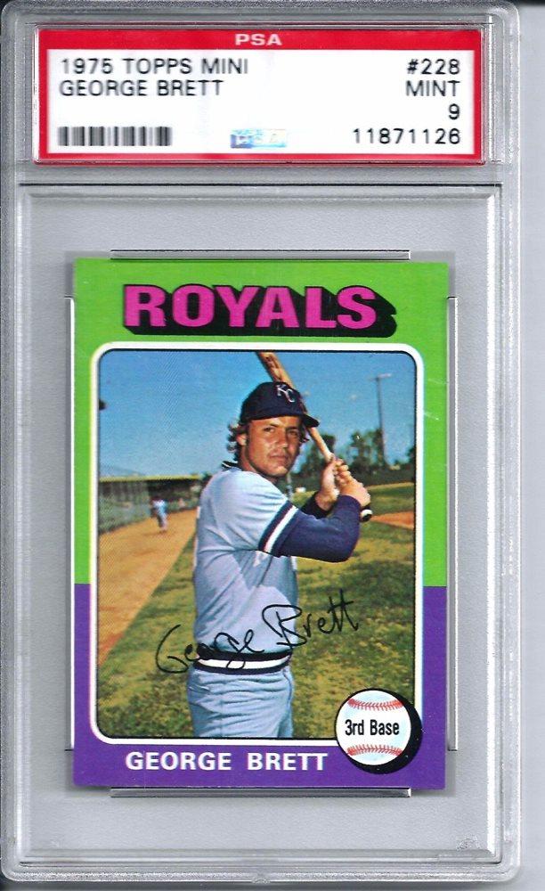 1975 Topps Baseball Mini 228 George Brett Rookie Card Psa Mint 9