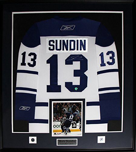 free shipping 6008c 81147 Mats Sundin Toronto Maple Leafs signed white jersey frame