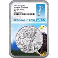 2018-W Burnished $1 American Silver Eagle NGC MS70 FDI Black Label