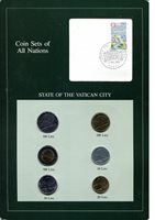 Vatican City 10-500 Lire ND UNC (Board may have some wear)Other Coin Sets of All 6 Coins presented on a board with stamp Varies Coin