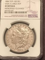 1884 P XF details VAM 3 Large Dot Top 100 Morgan Silver Dollar