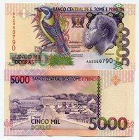 P65b Unc. St. Thomas & Prince 5000 Dobras 1996 Money - SAINT THOMAS