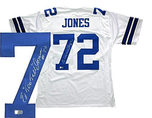wholesale dealer b6866 38c4f Ed Jones Signed Dallas Cowboys White Custom Jersey with