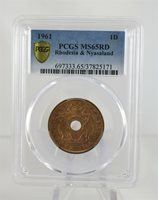 1961 Rhodesia & Nyasaland One Penny PCGS MS65RD