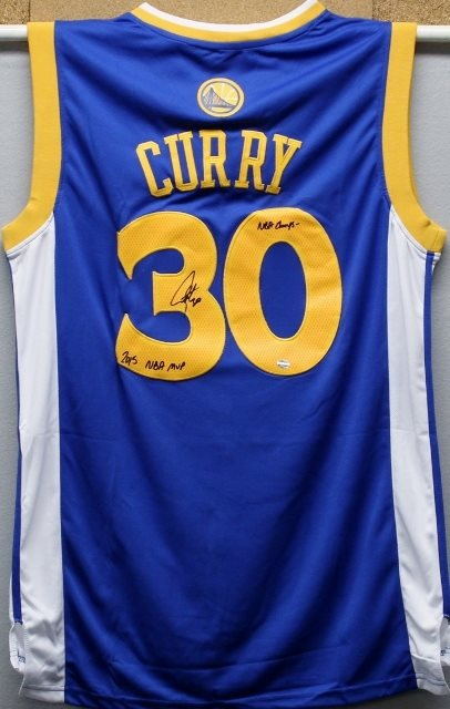 pretty nice c9648 7533d Stephen Curry Autographed Blue Warriors Jersey