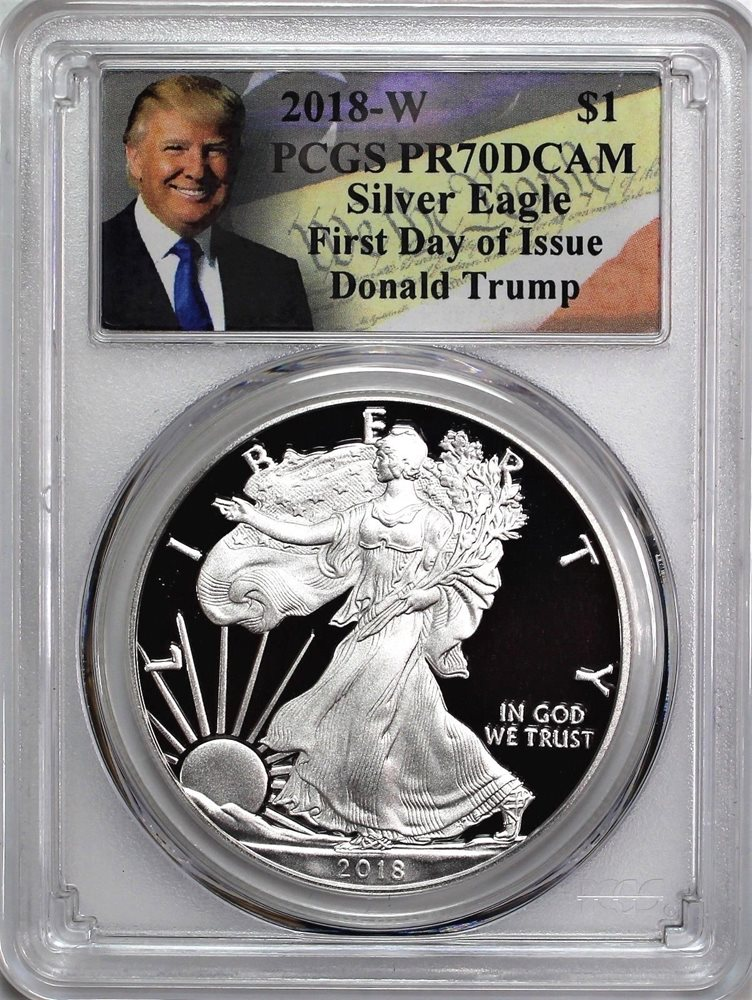 2018-W Proof $1 American Silver Eagle PCGS PR70DCAM First Strike Label