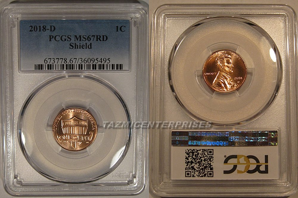 PCGS MS66 RD 2018 D Lincoln Shield Cent Penny 1C