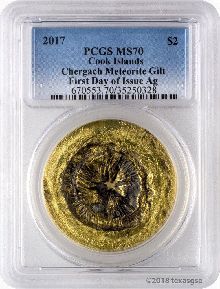CHERGACH METEORITE silver coin Cook Islands 2017