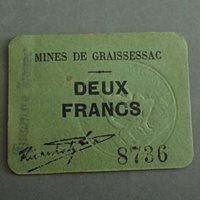 Numismatique des mines Mines de Graissessac, carton de deux Francs avec tampon bleu, 2 francs, Ttb+