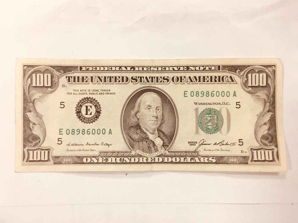 1985 One Hundred 100 Dollars Bill Federal Reserve Note
