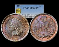 1874 1C Indian Cent - Type 3 Bronze PCGS MS66BN (Charmy's Personal Collection)