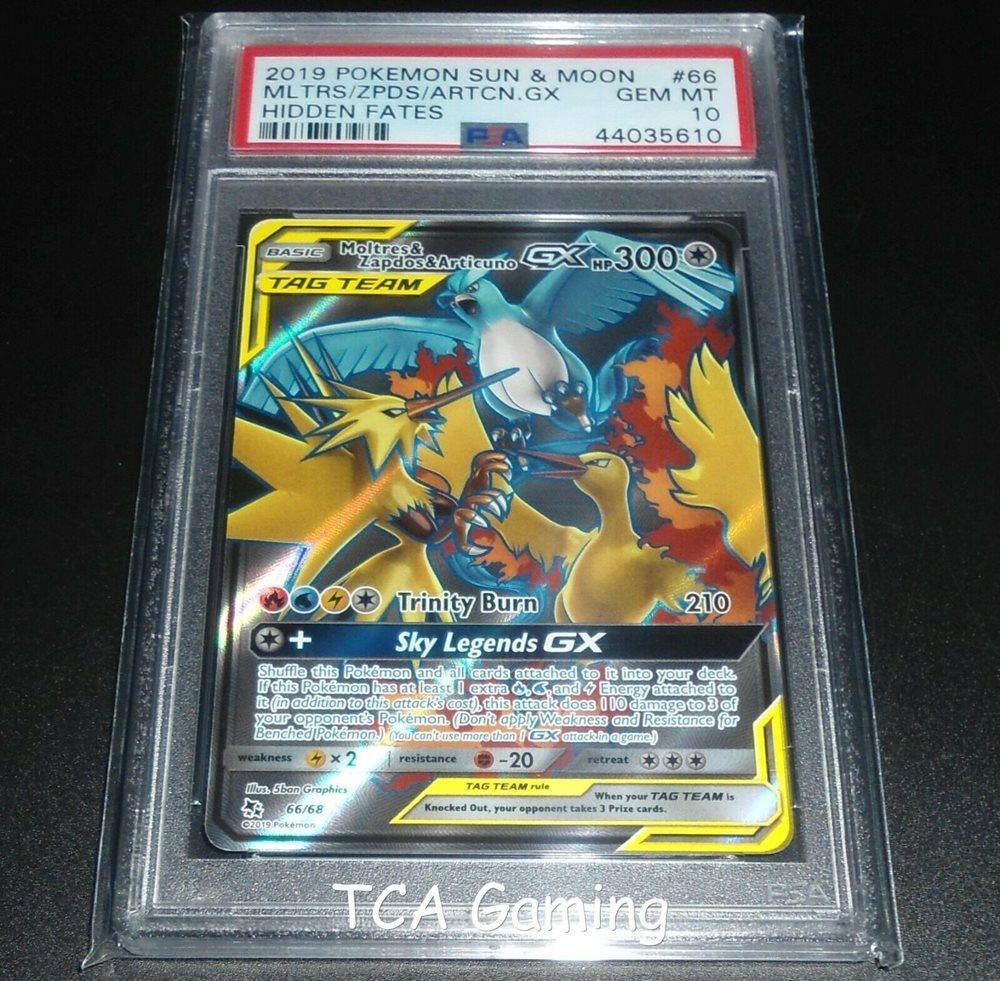 PSA 10 GEM MINT Moltres Zapdos /& Articuno GX 44//68 SM Hidden Fates Pokemon Card