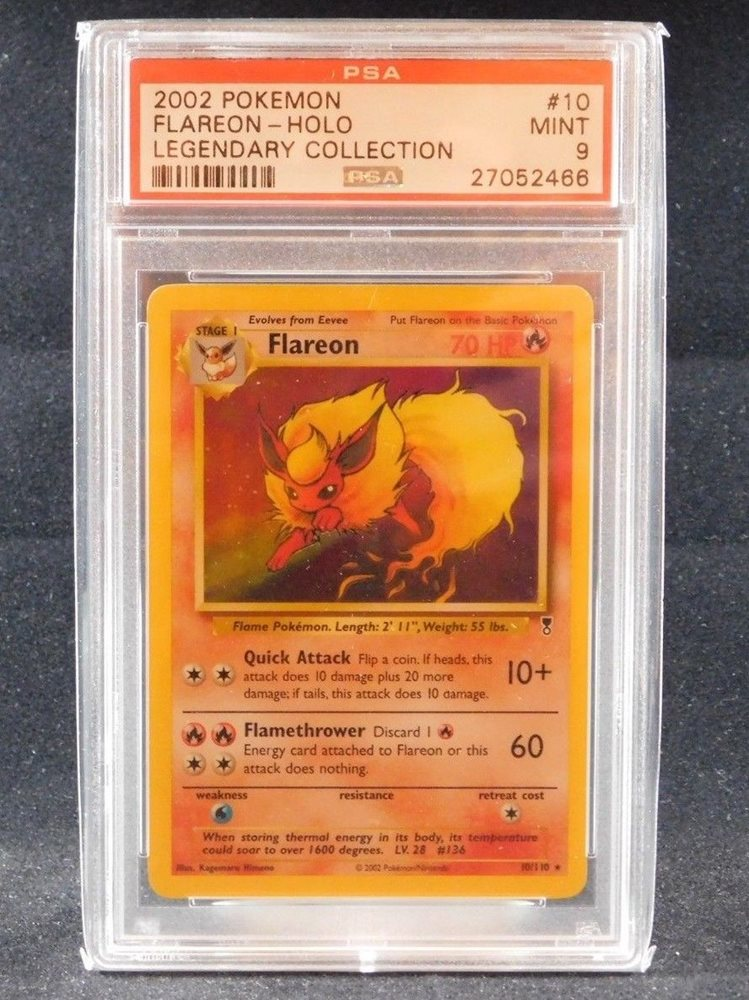 PSA 9 MINT Flareon 10//110 Legendary Collection HOLO RARE Pokemon Card