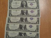 (5) Sequential CU 1957 $1 Silver Certificates F-A Block (176-180)