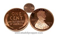 Jumbo Wheat Penny Copper Round * .999 Fine Copper Bullion Coin.* 1 Troy Ounce.* Large Wheat Penny Replica.* No artificial coatings.(+)Zoom
