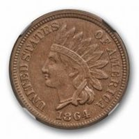 1864 Copper Nickel Indian Head Cent NGC AU 58 About Uncirculated Original