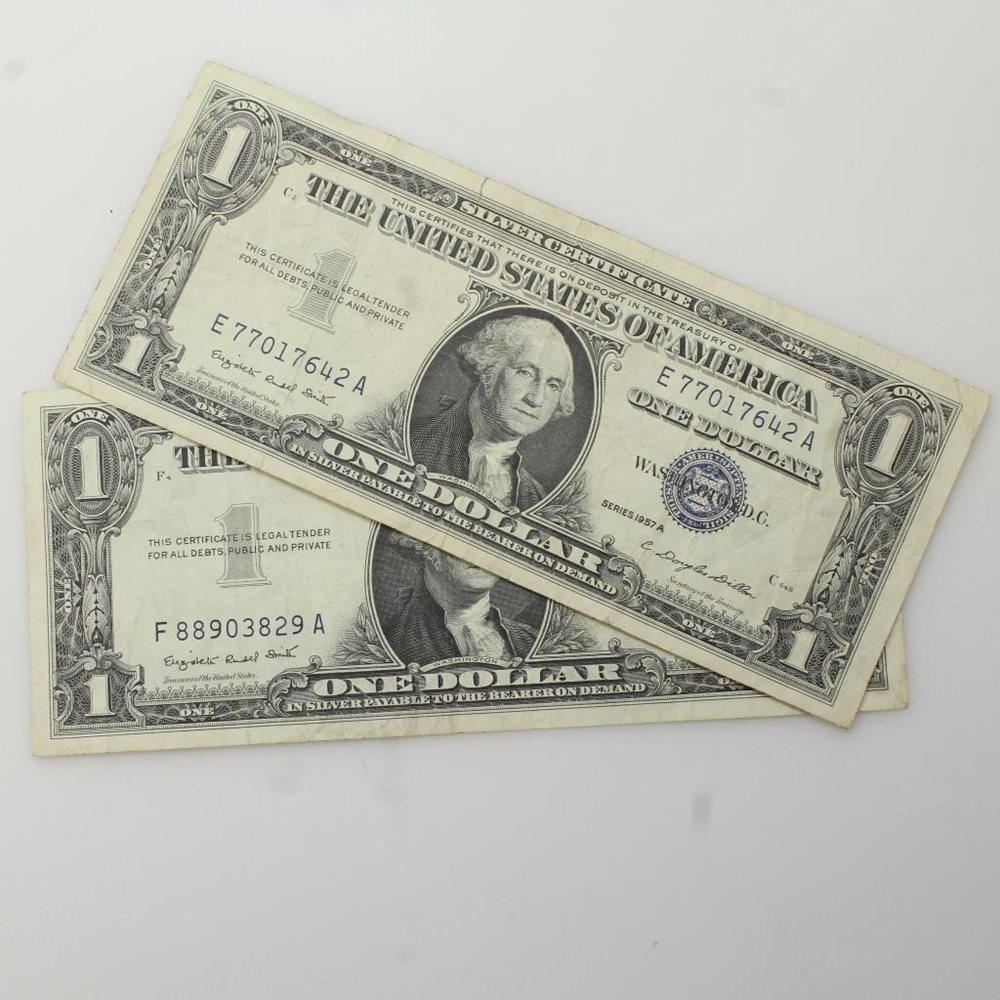1957 2 Dollar Bill Silver Certificate Currency Blue Se