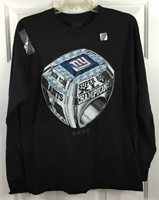 NY Giants Official Super Bowl Champions Ring L/S T-Shirt Black Youth Sz XL New!