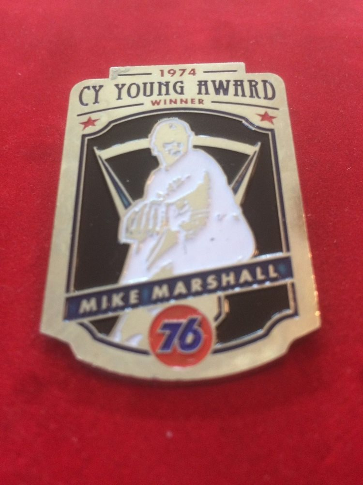 Dodgers Don Newcombe pin Dodger Cy Young award winners-SGA 4//13//15