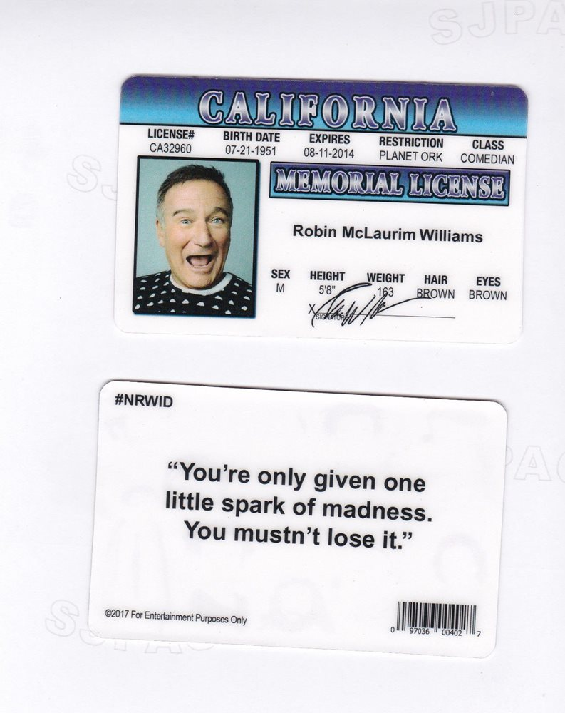 California Robin Fun Card Memory Fake Williams In d I