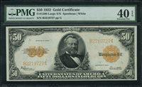 Fr No.1200 $50 Gold Certificates 1922 PMG 40EPQ