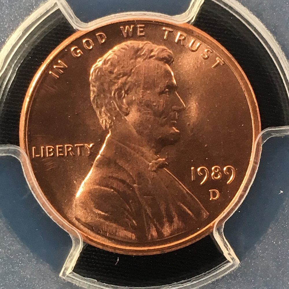 1989-D 1C RD Lincoln Memorial One Cent PCGS MS68RD 82993554