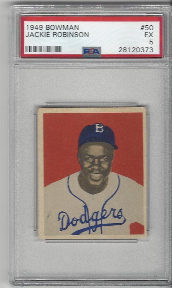 1949 Bowman Baseball Card 50 Jackie Robinson Rookie Psa Graded 5 Dodgers
