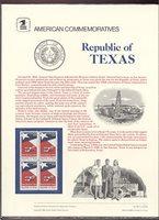 2204 22c Republic of Texas USPS Cat. #259 Commemorative Panel[cp259]