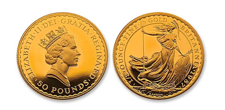 Great Britain 1987 Britannia 50 Pounds Gold Proof Coin NGC PF 70 ULTRA CAMEO