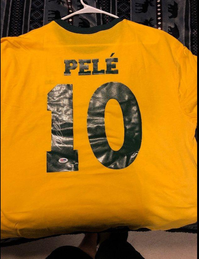 e710ed332df Pele #10 Signed Brazil Soccer Jersey Autograph AUTO PSA