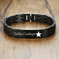 Dallas Cowboys Mens Bracelet Steel Black - Great Gift!
