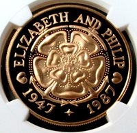 """1987 GOLD TRISTAN DA CUNHA 50 PENCE NGC PROOF 70 ULTRA CAMEO """"ROYAL WEDDING"""" FINEST KNOWN ONLY 75 MINTED"""